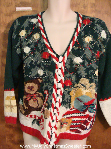 80s Gem with Teddy Bear Ugly Christmas Sweater Pullover