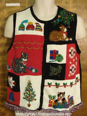 Crazy Cat Lady Ugly Christmas Sweater Vest with Fringe