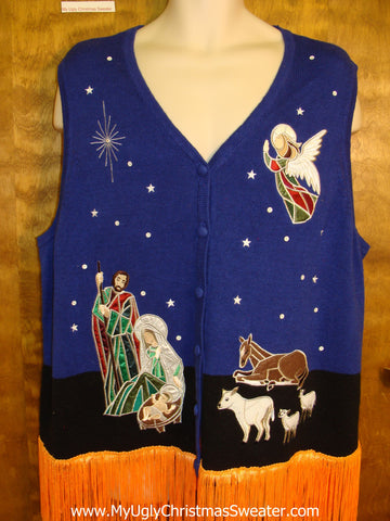 Mary, Jesus, and Wise Men Themed Ugly Christmas Sweater Vest