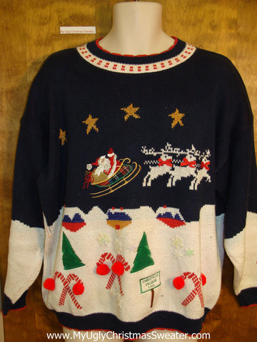 80s Santa and Reindeer Ugly Christmas Sweater Pullover