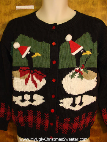 Ducks with Santa Hats Ugly Christmas Sweater Cardigan