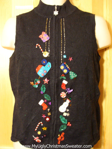 Tacky Ugly Christmas Sweater Vest Thin Knit with Tumbling Decorations  (f354)