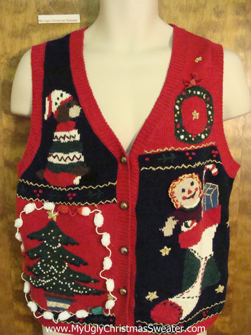 Ugly Red Christmas Sweater Vest with Pom Poms