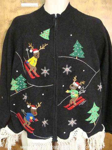 Funny Skiing Reindeer Ugly Christmas Sweater
