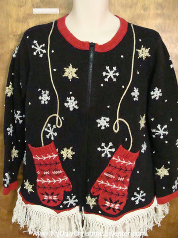 Fantastic Red Mitten Themed Ugly Christmas Sweater
