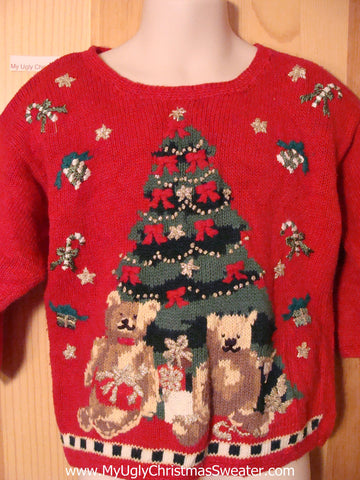 Child Size 3T Tacky Ugly Christmas Sweater with Giant Tree and Bears  (f355)