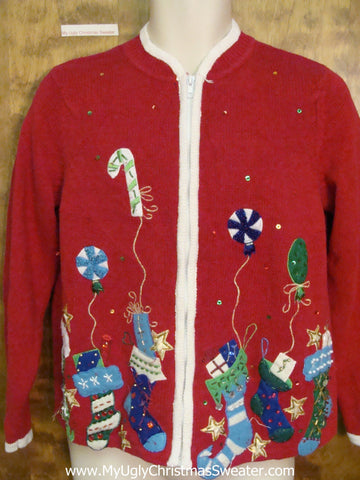 Bling Colorful Stockings Ugly Christmas Sweater