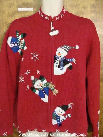 Peaking Snowmen Ugly Christmas Sweater