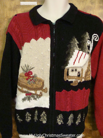 Two Sided Red and Black Ugly Christmas Sweater