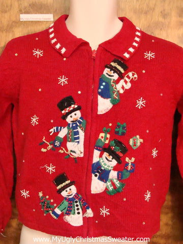 Child Size Ugly Christmas Sweater with Juggling Snowmen