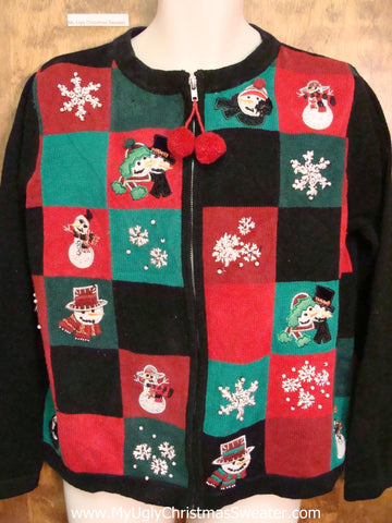Red, Green, and Black Blocks Ugly Christmas Sweater