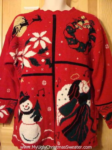 Tacky Ugly Christmas Sweater 80s Acrylic Classic with Santa and Reindeer Flying Over the Moon, Angel, Snowman and Poinsettias  (f356)