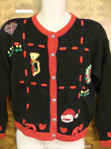 80s Padded Shoulder Style Ugly Christmas Sweater Cardigan