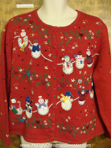 Snowman Closeline Ugly Christmas Sweater Cardigan
