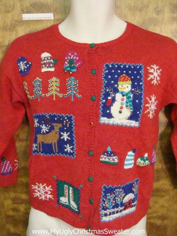 Ugly Red Two Sided Christmas Sweater Cardigan