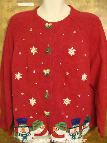 Ugly Christmas Sweater Cardigan with 80s Padded Shoulders