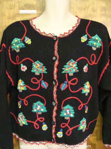 Trees and Red Yarn Ugly Christmas Sweater Cardigan