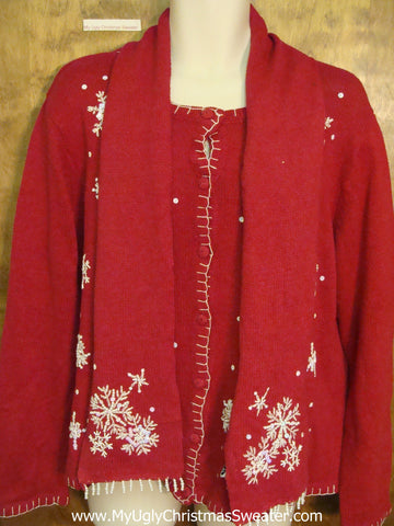 Ugly Snowflake Themed Christmas Sweater Cardigan with Scarf
