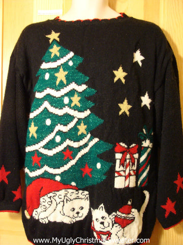 Tacky Ugly Christmas Sweater 80s Gem with Giant Tree and Cats (f357)