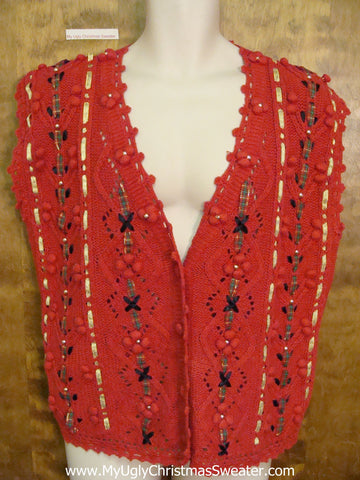 Horrible Ribbon Weave Ugly Christmas Sweater Vest