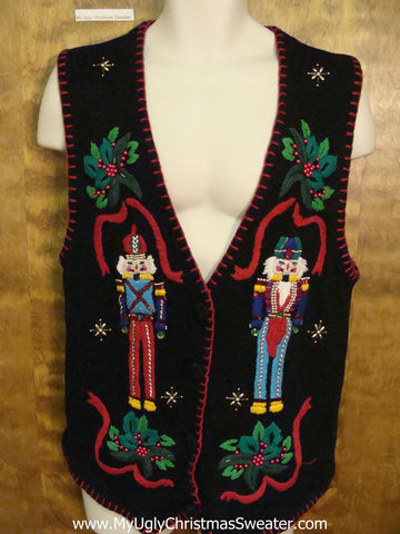Amazing Colorful Nutcrackers Ugly Christmas Sweater Vest