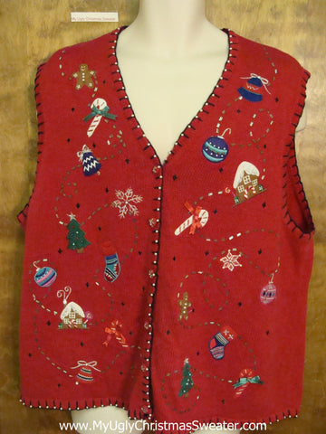 Crafty Red Vest Ugly Christmas Sweater Vest