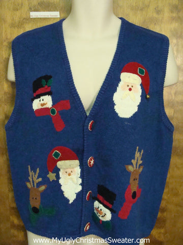 Reindeer and Santa Heads Ugly Christmas Sweater Vest