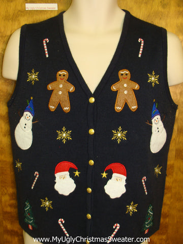 Gingerbread Men and Candy Canes Ugly Christmas Sweater Vest