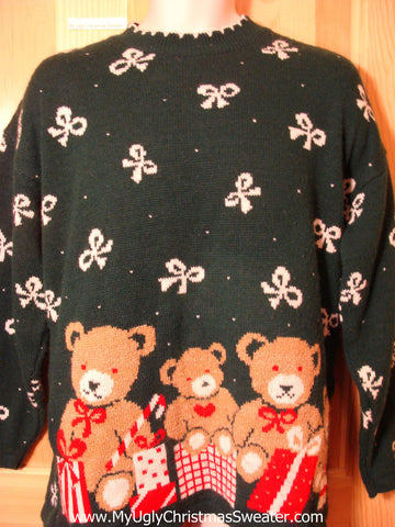 Tacky Ugly Christmas Sweater 80s 2sided Classic with Bows and Bears (f358)
