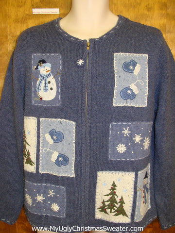 Blocks of Blue Ugly Christmas Sweater