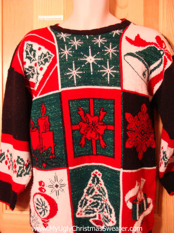 Tacky Ugly Christmas Sweater 80s Classic with Snowflakes, Tree, Bell, Candle and Ornament (f359)