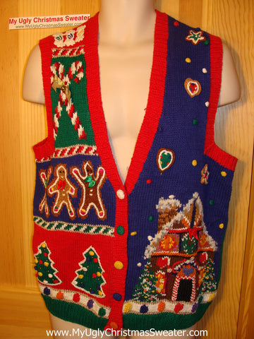Tacky Ugly Christmas Sweater Vest 80s Classic Gingerbread House and Candy Canes (f35)