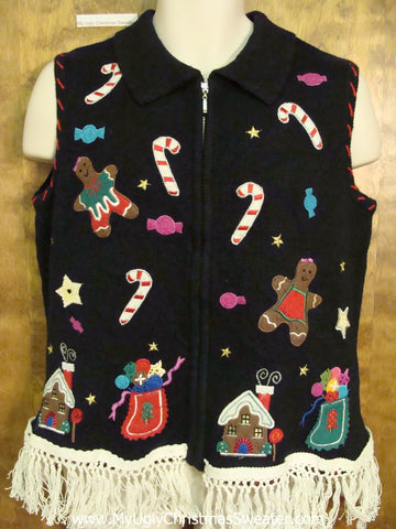 Ugly Christmas Sweater Vest with Gingerbread and Candycanes
