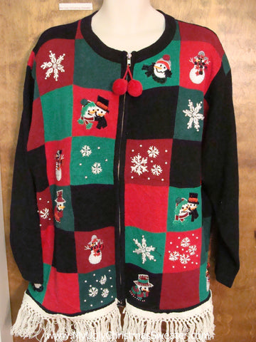 Red, Green and Black Ugly Christmas Sweater with Fringe