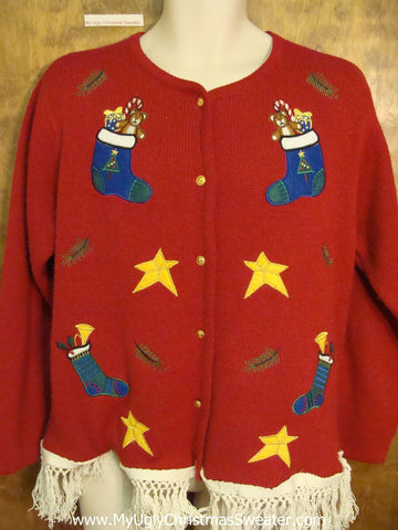 Funny Ugly Christmas Sweater with Stars and Stockings