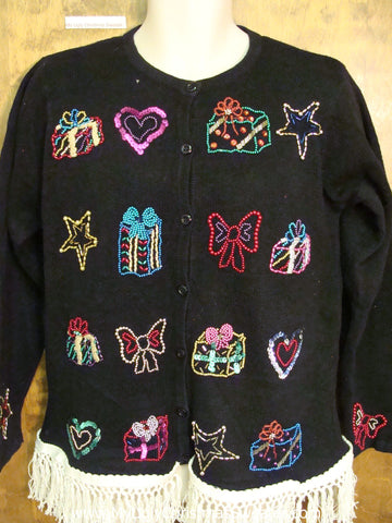Bling Filled Funny Ugly Christmas Sweater with Fringe