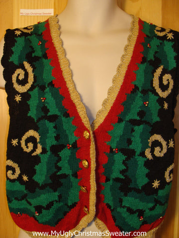 Tacky Ugly Christmas Sweater Vest 80s Awful Colors (f360)