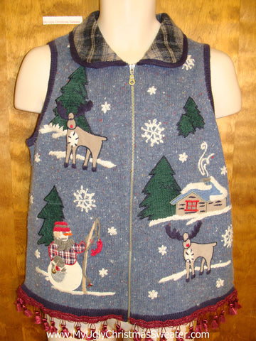 Reindeer in Winter Ugly Christmas Sweater Vest