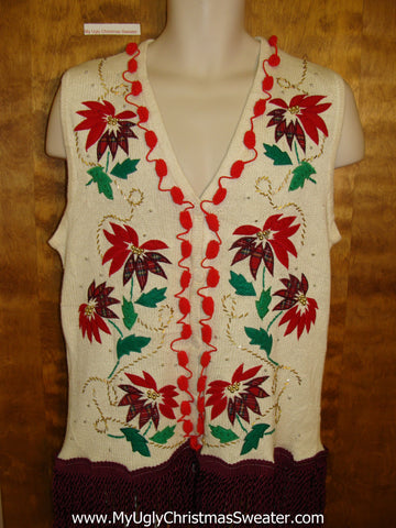 Horrible Poinsetta Themed Ugly Christmas Sweater Vest