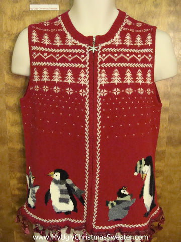 Nordic Style Ugly Christmas Sweater Vest with Penguins