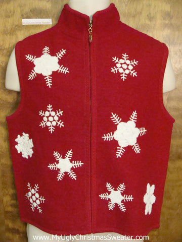 Ugly Snowflake Themed Christmas Sweater Vest