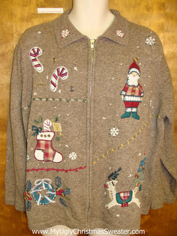 Ugly Brown Christmas Sweater with Santa and Candy Canes