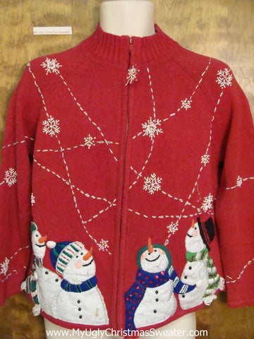 Star Gazing Snowmen Ugly Christmas Sweater