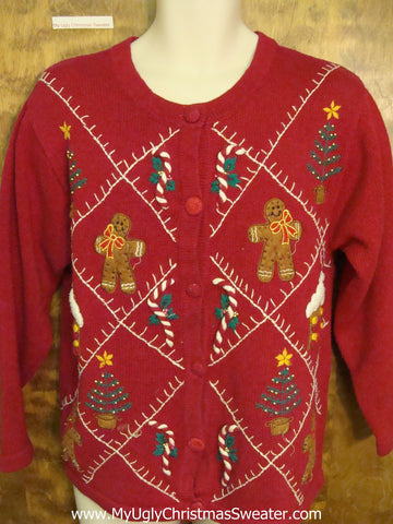 Gingerbread Men and Candycanes Ugly Christmas Sweater