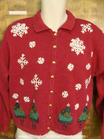 Trees and Snowflakes Ugly Christmas Sweater