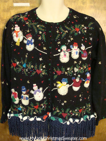 Clothesline Snowmen Ugly Christmas Sweater