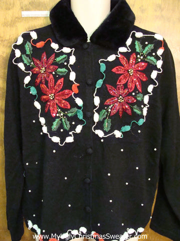 Ugly Christmas Sweater with Poinsettias