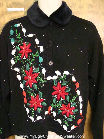 Red Poinsettias Ugly Christmas Sweater