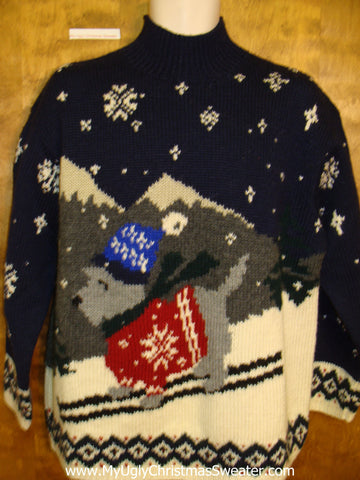 Skiing Dog Ralph Lauren Mens Ugly Christmas Sweater