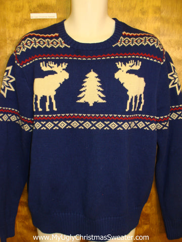 Vintage Reindeer Moose Mens Ugly Christmas Sweater